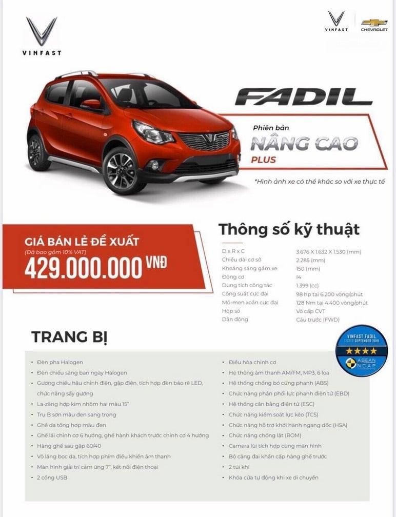 Thông tin chi tiết các ô tô VinFast Fadil nâng cao