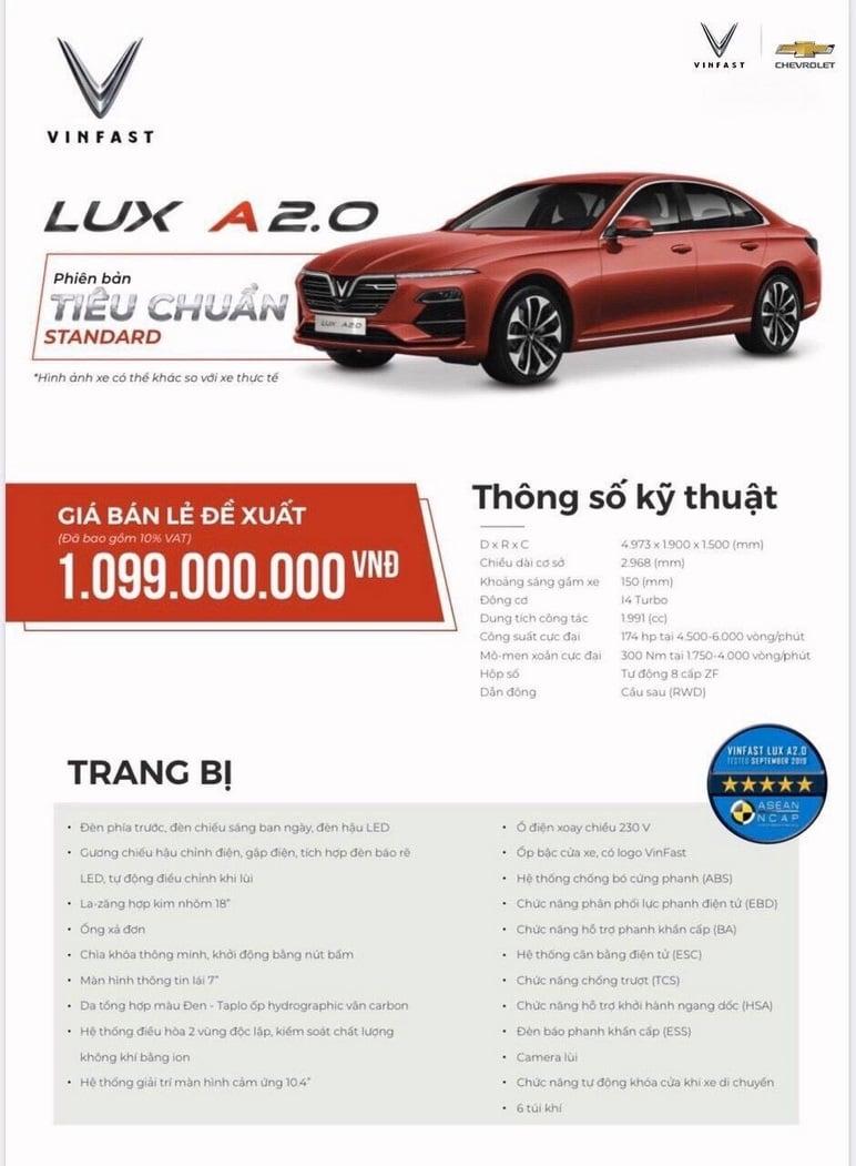Thông tin chi tiết các ô tô VinFast Lux A2.0 tiêu chuẩn