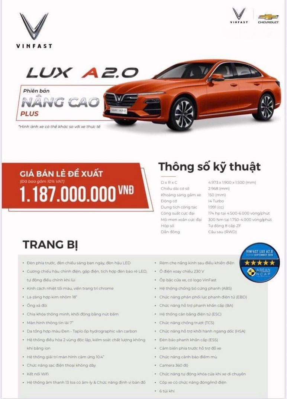 Thông tin chi tiết các ô tô VinFast Lux A2.0 nâng cao