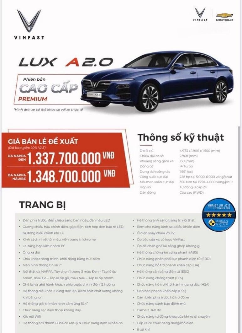 Thông tin chi tiết các ô tô VinFast Lux A2.0 cao cấp