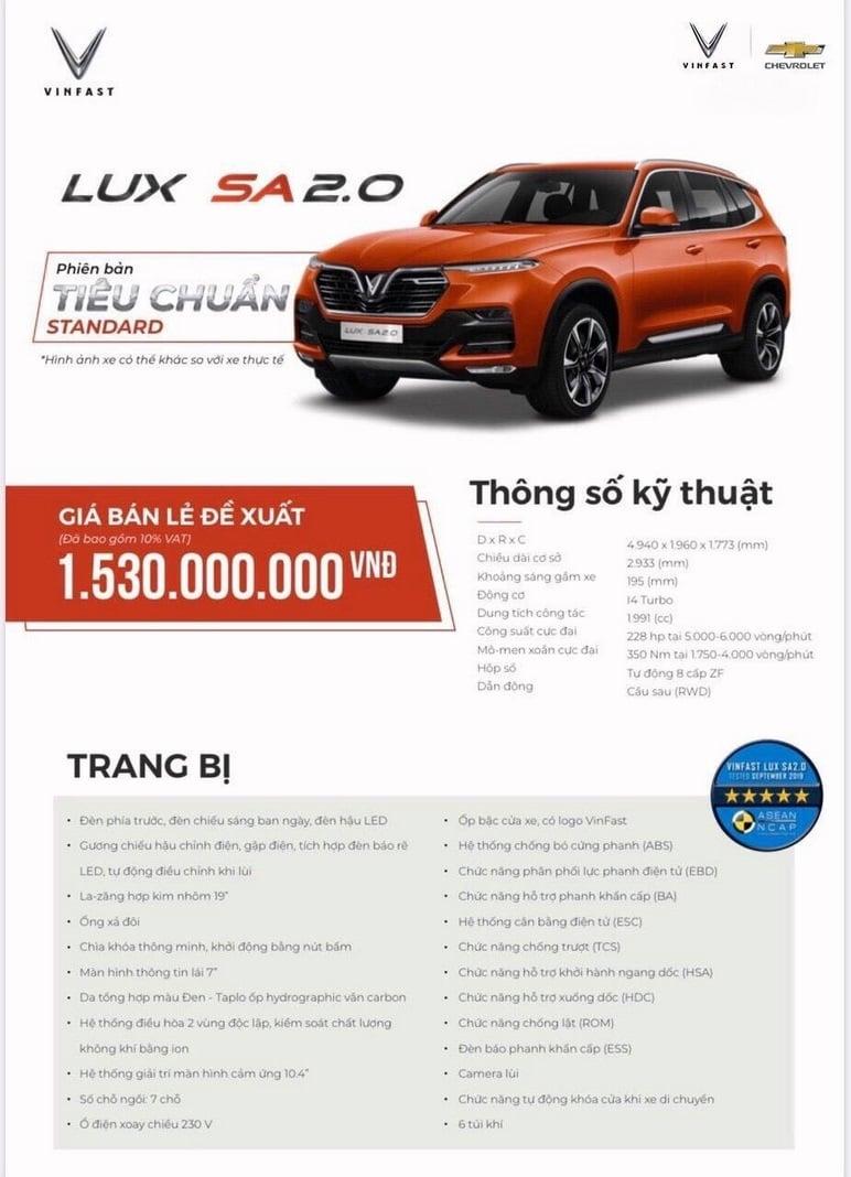 Thông tin chi tiết các ô tô VinFast Lux SA2.0 tiêu chuẩn