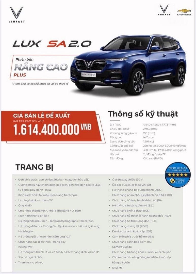 Thông tin chi tiết các ô tô VinFast Lux SA2.0 nâng cao