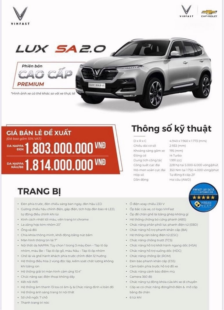 Thông tin chi tiết các ô tô VinFast Lux SA2.0 cao cấp