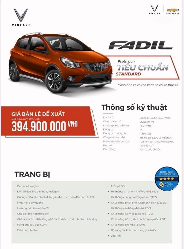 Thông tin chi tiết các ô tô VinFast Fadil tiêu chuẩn