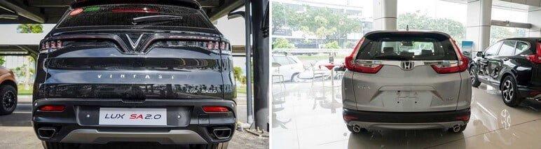 Phần đuôi xe của VinFast Lux SA2.0 & Honda CRV