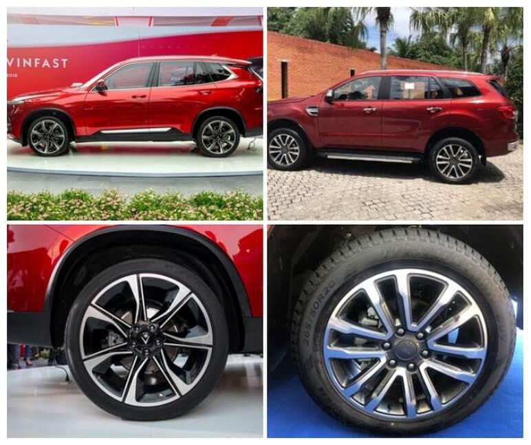 So sánh thân xe VinFast Lux SA2.0 và Ford Everest Titanium