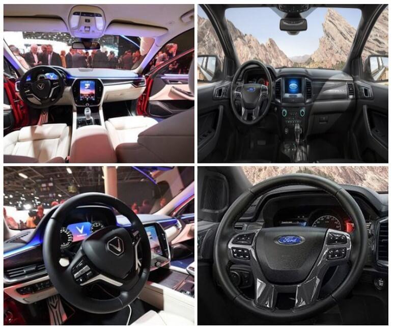 So sánh vô lăng và taplo giữa VinFast Lux SA2.0 & Ford Everest Titanium