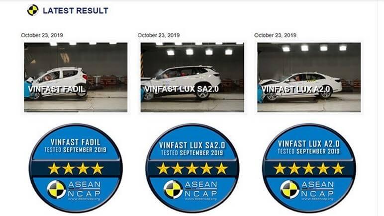 Ba dòng ô tô VinFast An Toàn Chuẩn 5 Sao ASEAN NCAP