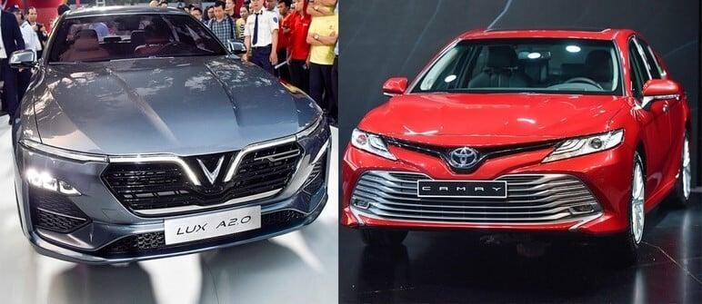 So sánh ngoại thất VinFast Lux A2.0 và Toyota Camry 2019