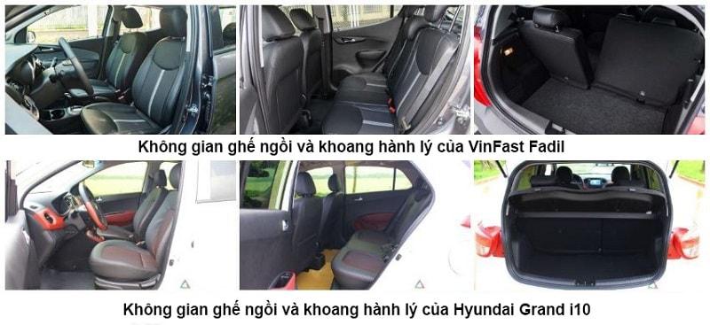 Nội thất của ô tô VinFast Fadil và Grand i10
