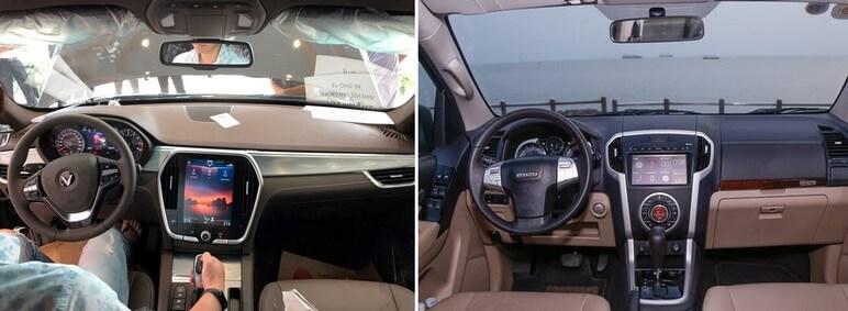 So sánh nội thất VinFast Lux SA2.0 và Isuzu MU-X Prestige 3.0 4x4 AT