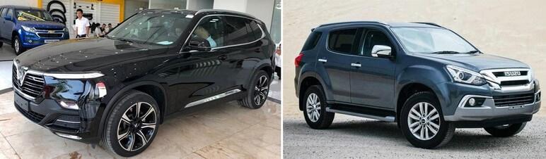 So sánh phần đầu xe VinFast Lux SA2.0 và Isuzu MU-X Prestige 3.0 4x4 AT
