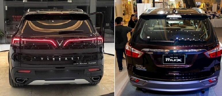 So sánh phần đuôi xe VinFast Lux SA2.0 và Isuzu MU-X Prestige 3.0 4x4 AT