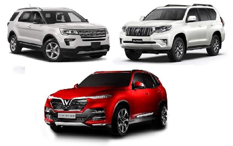 So sánh VinFast Lux SA2.0 với Ford Explorer và Toyota Prado
