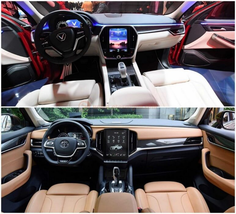Thiết kế nội thất của VinFast Lux SA2.0 và Brilliance V7