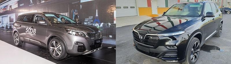 So sánh phần thân xe VinFast Lux SA2.0 và Peugeot 5008