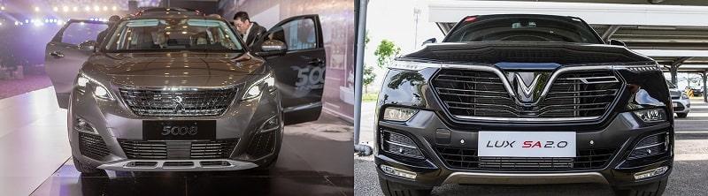 So sánh phần đầu xe VinFast Lux SA2.0 và Peugeot 5008