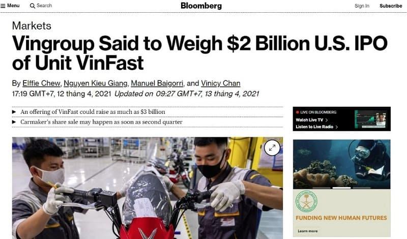 Thông tin về IPO của VinFast trên báo Bloomberg
