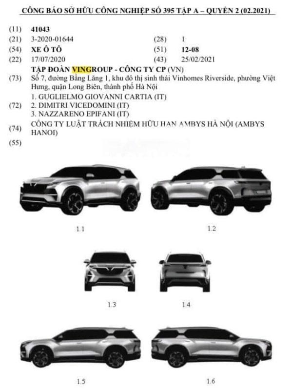 Thông tin mẫu SUV mới của VinFast được cấp sở hữu trí tuệ